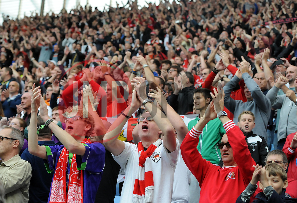 Bristol City fans celebrate on the final whistle  - Photo mandatory by-line: Joe Meredith/JMP - Mobile: 07966 386802 - 18/10/2014 - SPORT - Football - Coventry - Ricoh Arena - Bristol City v Coventry City - Sky Bet League One