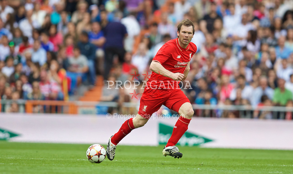 MADRIS, SPAIN - Sunday, June 14, 2015: Liverpool's Bjorn Tore Kvarme in action against Real Madrid during the Corazon Classic Legends Friendly match at the Estadio Santiago Bernabeu. (Pic by David Rawcliffe/Propaganda)