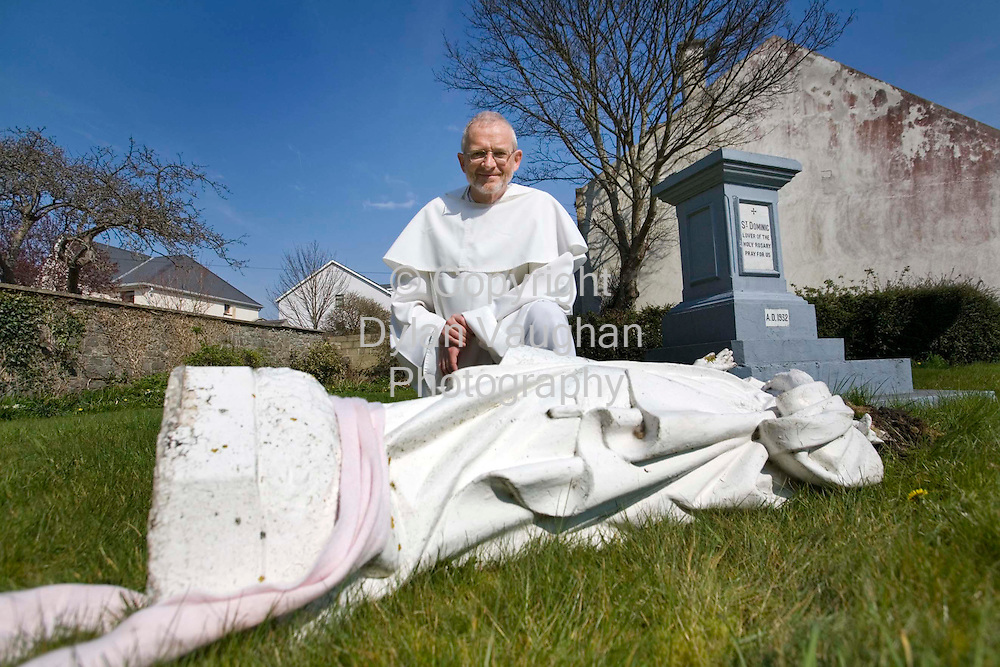 2/4/2007.Fr Louis Hughes OP, pictured with the damaged statue of St Dominic at the Black Abbey in Kilkenny..Picture Dylan Vaughan.