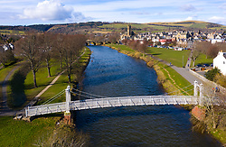 Aerial view of River Tweed flowing through town of Peebles in the Scottish Borders, Scotland,UK