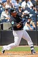 March 18, 2018 - Tampa, FL, U.S. - TAMPA, FL - MAR 18: Gary Sanchez (24) of the Yankess eyes the pitch and drives it over the fence for a home run during the game between the Miami Marlins and the New York Yankees on March 18, 2018, at George M. Steinbrenner Field in Tampa, FL. (Photo by Cliff Welch/Icon Sportswire) (Credit Image: © Cliff Welch/Icon SMI via ZUMA Press)