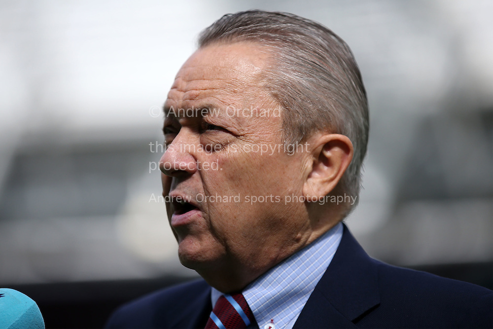 David Sullivan, Co-Owner of West Ham United being interviewed by the media before k/o. Premier league match, West Ham Utd v AFC Bournemouth at the London Stadium, Queen Elizabeth Olympic Park in London on Sunday 21st August 2016.<br /> pic by John Patrick Fletcher, Andrew Orchard sports photography.