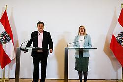 26.02.2020, Bundeskanzleramt, Wien, AUT, Bundesregierung, Pressefoyer nach Sitzung des Ministerrats, im Bild v. l. Werner Kogler (Gruene), Magarete Schramboeck (OeVP)// during media briefing after cabinet meeting at the federal chancellery in Vienna, Austria on 2020/02/26. EXPA Pictures © 2020, PhotoCredit: EXPA/ Florian Schroetter