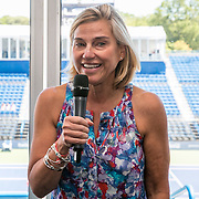 August 22, 2016, New Haven, Connecticut: <br /> Tournament Director Anne Worcester speaks during the Anthem Symposium during Day 4 of the 2016 Connecticut Open at the Yale University Tennis Center on Monday August  22, 2016 in New Haven, Connecticut. <br /> (Photo by Billie Weiss/Connecticut Open)