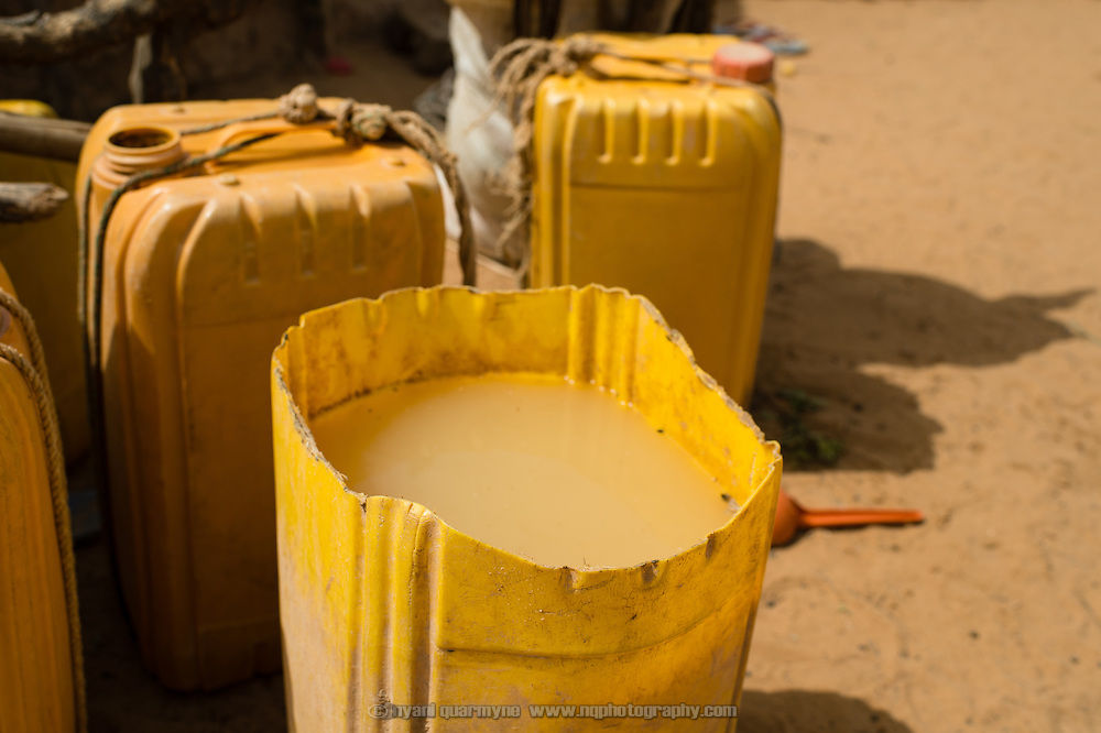 Water that has been used to wash millet is saved and used to water animals at a Fulani encampment in Garinbale in the Commune of Soukoukoutan in the Dosso Region of Niger. 23 July 2013.