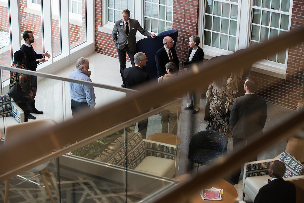 Members of the Ohio University Foundation Board of Trustees take a tour of the newly renovated McCracken Hall prior to the portrait unveilings of President McDavis and his wife, Mrs. McDavis, on February 9, 2017.