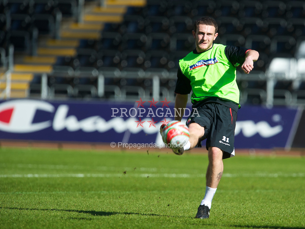 SWANSEA, WALES - Monday, March 1, 2010: Wales' Neal Eardley during training at the Liberty Stadium ahead of the international friendly match against Sweden. (Photo by David Rawcliffe/Propaganda)