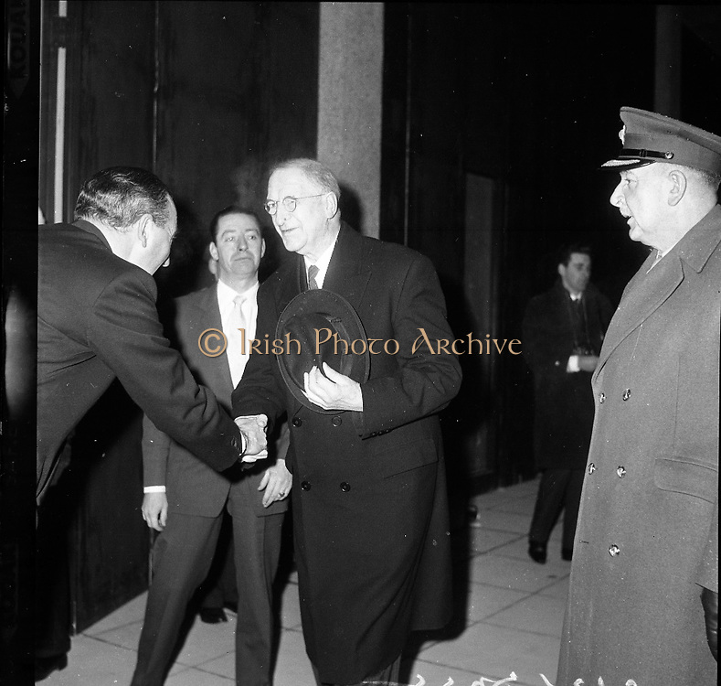 Inauguration of Teilifís Eireann, Montrose..1961..31.12.1961..12.31.1961..31st December 1961..Today saw the inaugeration and official opening of Telifís Éireann. Many dignitaries from the political,religious and entertainment life attended at the ceremony. ..Image shows President Eamon DeValera arriving at the inaugeration of Telifís Éireann at the Montrose Studios in Dublin.