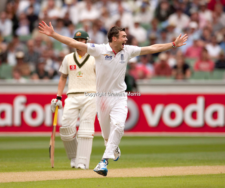 James Anderson celebrates taking the wicket of Michael Hussey during the fourth Ashes test match between Australia and England at the MCG in Melbourne, Australia. Photo: Graham Morris (Tel: +44(0)20 8969 4192 Email: sales@cricketpix.com) 26/12/10