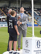 Promotion winning captain Gavin Rae, 1962 Championship winning goalkeeper Pat Liney and 13 years old Dundee fan Blair Kinmont raise the SPFL Championship flag - Dundee v Kilmarnock - SPFL Premiership at Dens Park<br /> <br />  - &copy; David Young - www.davidyoungphoto.co.uk - email: davidyoungphoto@gmail.com