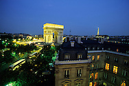 France. Paris. elevated view.  the arc de triomphe and place de l'etoile view from the splendid hotel 1 avenue carnot 75017 paris
