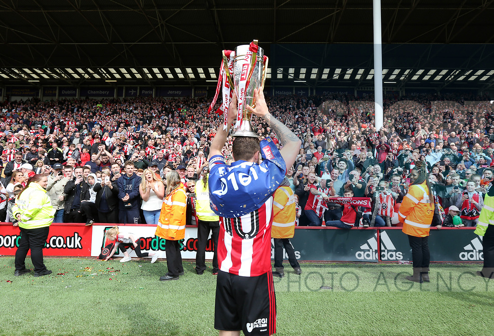 Sheffield United's Billy Sharp celebrates with the League One trophy during the League One match at Bramall Lane, Sheffield. Picture date: April 30th, 2017. Pic David Klein/Sportimage
