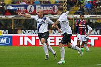 """Esultanza di Esteban Cambiasso<br /> Goal celebration<br /> Bologna 28/10/2012 Stadio """"Dallara""""<br /> Football Calcio Serie A 2012/13<br /> Bologna v Inter<br /> Foto Insidefoto Paolo Nucci"""