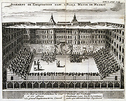 Trial by the Spanish Inquisition in progress in Madrid. Copperplate engraving published Cologne, 1759.