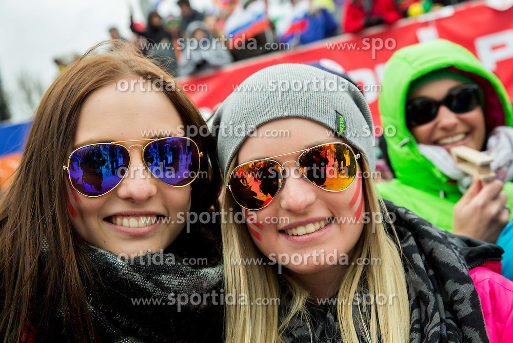Supporters during 2nd Run of Men Slalom race of FIS Alpine Ski World Cup 54th Vitranc Cup 2015, on March 15, 2015 in Kranjska Gora, Slovenia. Photo by Vid Ponikvar / Sportida