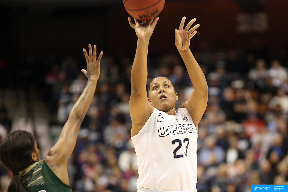 Kaleena Mosqueda-Lewis, UConn, shoots three points during the UConn Huskies Vs USF Bulls Basketball Final game at the American Athletic Conference Women's College Basketball Championships 2015 at Mohegan Sun Arena, Uncasville, Connecticut, USA. 9th March 2015. Photo Tim Clayton