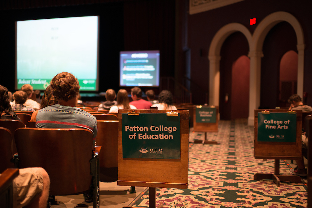 Students sit with other peers from their college during a welcome session at Bobcat Student Orientation. Photo by Ben Siegel/ Ohio University