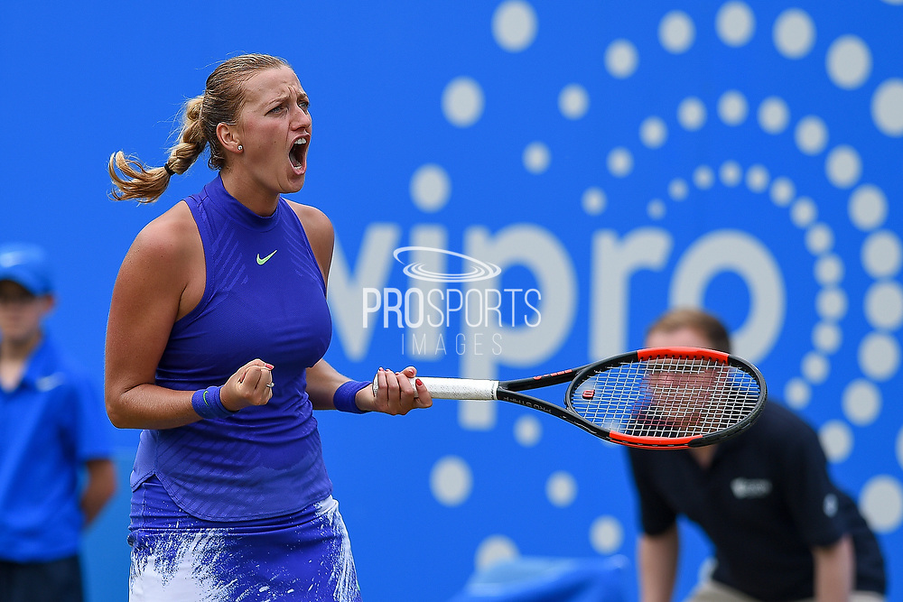 Petra Kvitova of the Czech Republic on her way to winning her match (4-6) (6-3) (6-2) at the Final of the Aegon Classic Birmingham at Edgbaston Priory Club, Edgbaston, United Kingdom on 25 June 2017. Photo by Martin Cole.