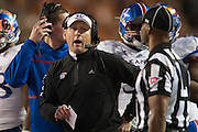 AUSTIN, TX - NOVEMBER 7:  Kansas Jayhawks head coach David Beaty looks on against the Kansas Jayhawks on November 7, 2015 at Darrell K Royal-Texas Memorial Stadium in Austin, Texas.  (Photo by Cooper Neill/Getty Images) *** Local Caption *** David Beaty