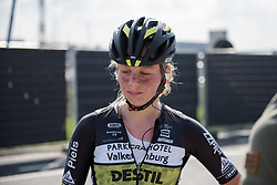 Eva Buurman reflects on a hard day at the Women's Ronde van Vlaanderen 2017. A 153 km road race on April 2nd 2017, starting and finishing in Oudenaarde, Belgium. (Photo by Sean Robinson/Velofocus)