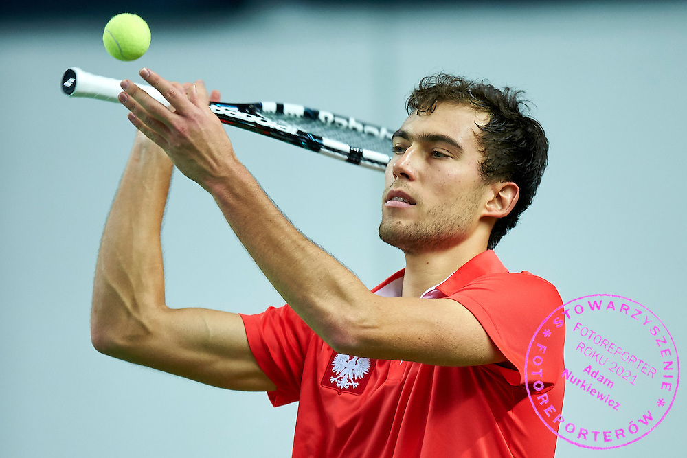 Jerzy Janowicz of Poland in action during first day the Davies Cup / Group I Europe / Africa 1st round tennis match between Poland and Lithuania at Orlen Arena on March 6, 2015 in Plock, Poland<br /> Poland, Plock, March 6, 2015<br /> <br /> Picture also available in RAW (NEF) or TIFF format on special request.<br /> <br /> For editorial use only. Any commercial or promotional use requires permission.<br /> <br /> Mandatory credit:<br /> Photo by &copy; Adam Nurkiewicz / Mediasport