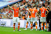 Mark Cullen (9) of Blackpool celebrates scoring a goal to make the score 2-1 during the EFL Sky Bet League 2 play off final match between Blackpool and Exeter City at Wembley Stadium, London, England on 28 May 2017. Photo by Graham Hunt.
