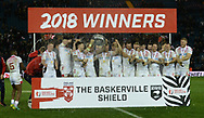 England celebrate the series win by lifting the Baskerville Shield during the Autumn International Series match at Elland Road, Leeds<br /> Picture by Richard Land/Focus Images Ltd +44 7713 507003<br /> 11/11/2018