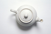overhead view of white teapot