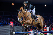 HONG KONG - FEBRUARY 20:  Pilar Lucrecia Cordon of Spain rides Nuage Bleu during the Airbus Trophy as part of the 2016 Longines Masters of Hong Kong on February 20, 2016 in Hong Kong, Hong Kong.  (Photo by Aitor Alcalde Colomer/Getty Images)