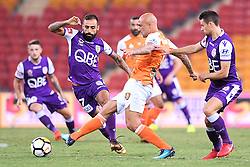 January 18, 2018 - Brisbane, QUEENSLAND, AUSTRALIA - Massimo Maccarone of the Roar (#9, centre) passes the ball under pressure during the round seventeen Hyundai A-League match between the Brisbane Roar and the Perth Glory at Suncorp Stadium on January 18, 2018 in Brisbane, Australia. (Credit Image: © Albert Perez via ZUMA Wire)