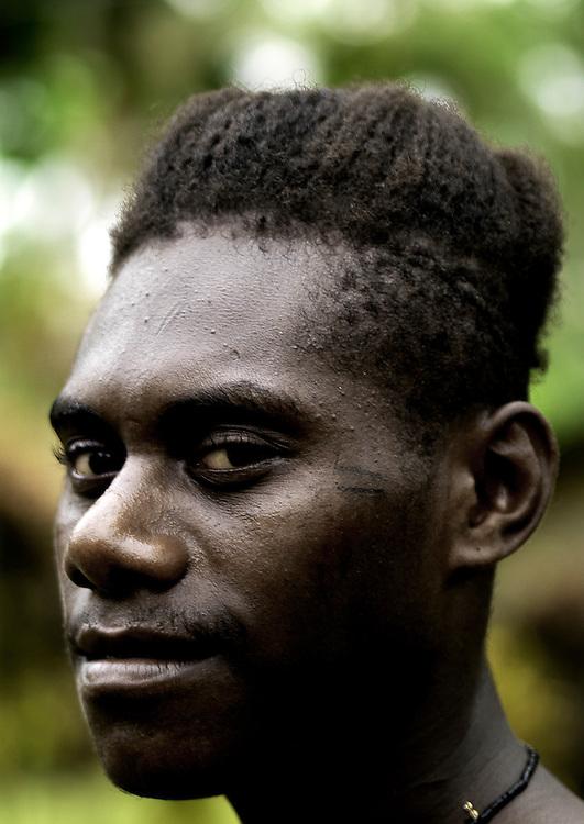 Vanuatu, Shefa Province, Efate Island, man with long head