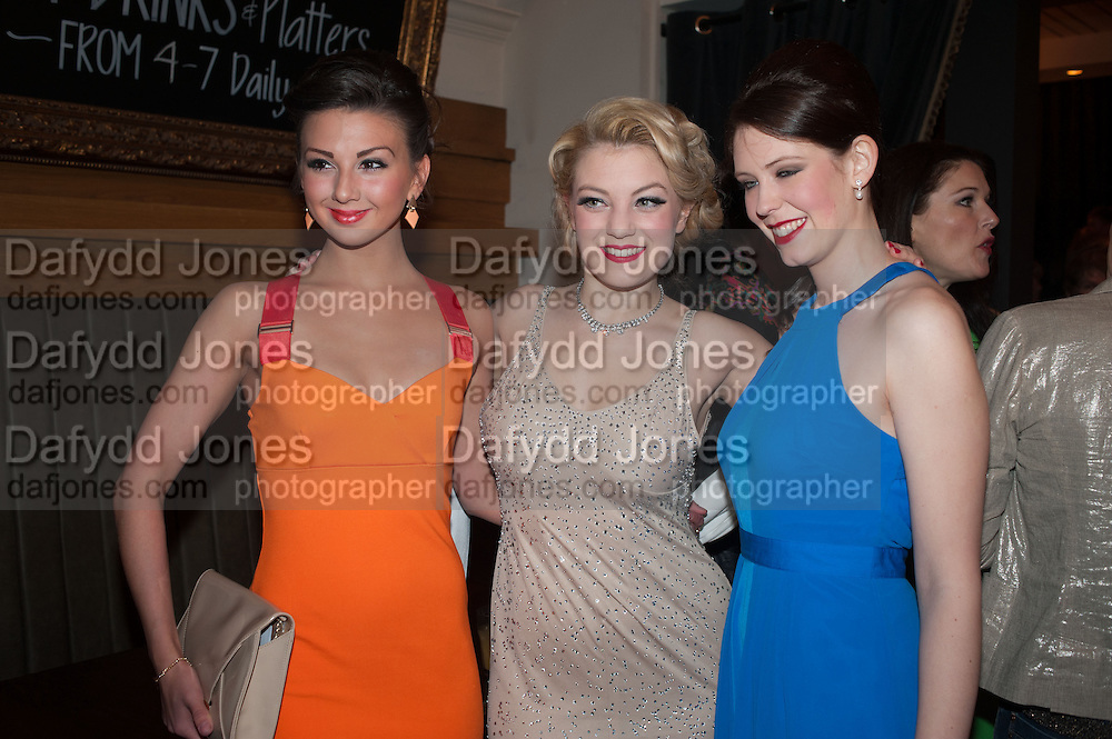 ZIZI STRALLEN; JOANNA WOODWARD; ELANA MARTIN, The press night performance of the Menier Chocolate Factory's 'Merrily We Roll Along', following its transfer to the Harold Pinter Theatre, After-show party at Grace Restaurant, Gt. Windmill St. London. 1 May 2013.