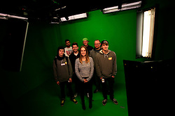 UK ENGLAND LONDON 4DEC12 -  Tom Ravach (22), Chris Manazides (26), Basian (26), Elisa Kropp (27), Sebastian Meichsner (26), Borja Schwember (36) and Ardian Bora (20, L-R) pose for a group picture inside the green screen studio  at the YouTube Creator Space offices in central London.....25 winners from YouTube's NextUp competetion were selected to receive an all-expenses paid trip to London where they are attending a week of training and mentorship.....jre/Photo by Jiri Rezac....© Jiri Rezac 2012