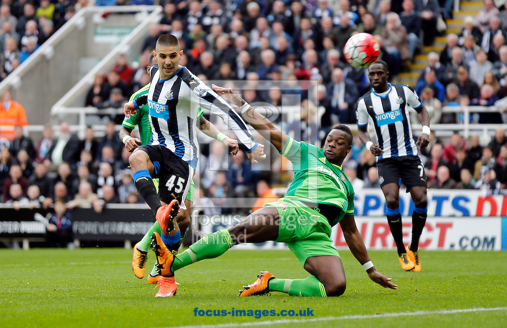 Aleksandar Mitrovic (45) of Newcastle United shooting  during the Barclays Premier League match at St. James's Park, Newcastle<br /> Picture by Simon Moore/Focus Images Ltd 07807 671782<br /> 20/03/2016