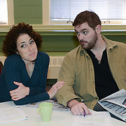 "Ilyse Robbins as Ellen and CJ Lewis as Peter in a rehearsal for Kent Stephen's ""Love and Faith and Other Dirty Words"""