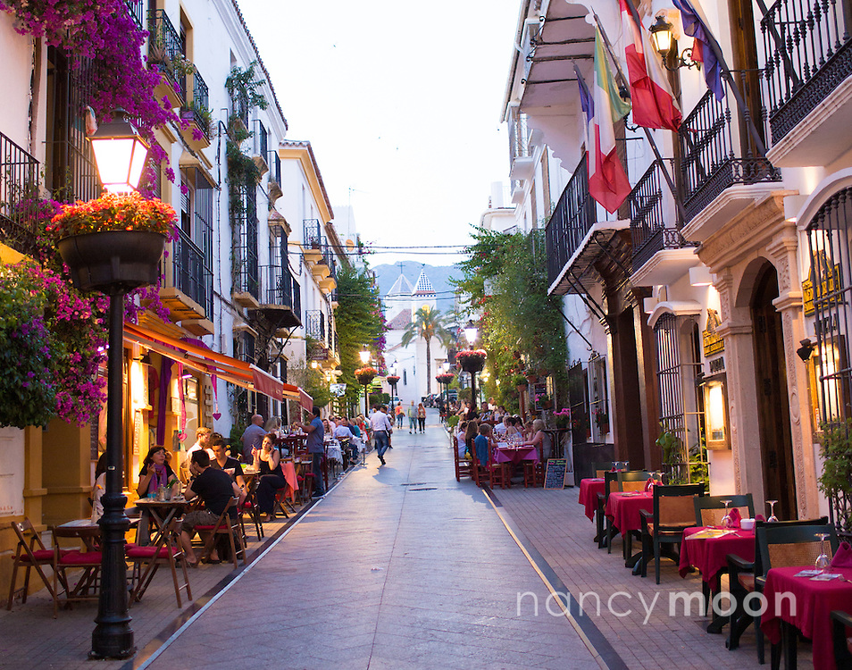 Marbella, Spain, is a city and resort area on southern Spain's Costa del Sol. During the evening hours, it's magical.<br />