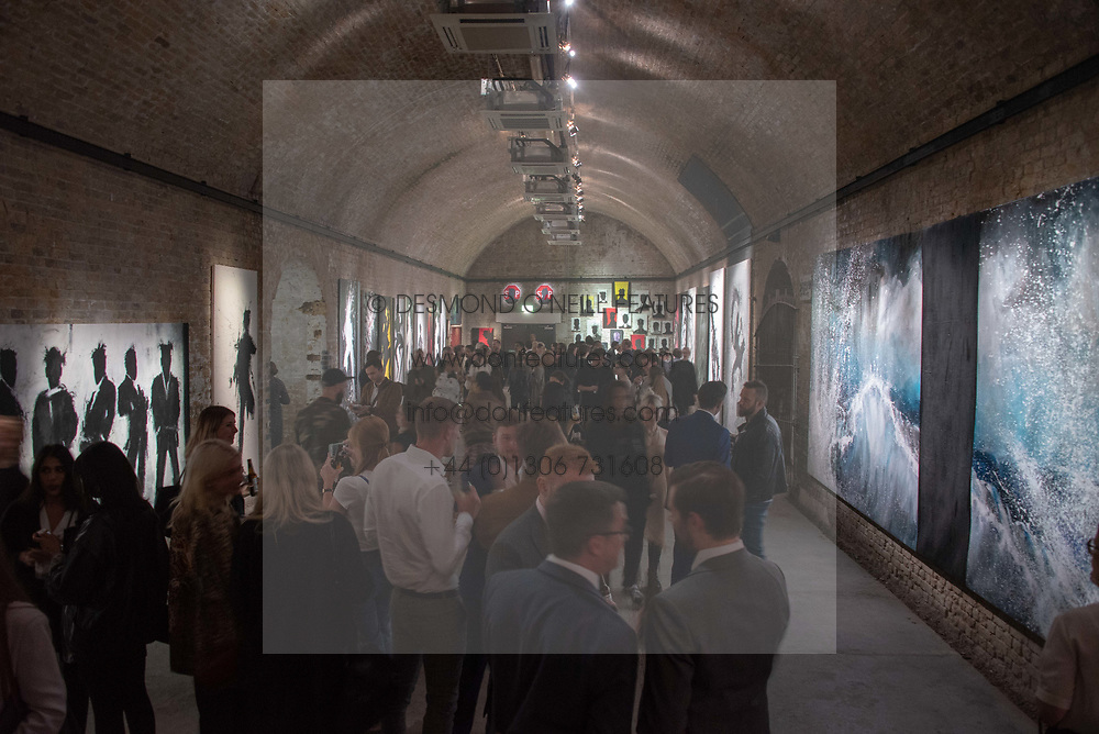 Atmosphere at 'Shadowman' Richard Hambleton Private View and After Party hosted by Andy Valmorbida and Maddox Gallery, held at 26 Leake Street Tunnels, London SE1 England. 12 September 2018.