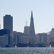 A wide view of the TransAmerica Pyramid building from the bay in San Francisco, California on Saturday, Sept. 17, 2011. The Golden Gate Bridge is undergoing a re-painting of the main support cables for the first time in 75 years and is expected to be completed by 2015. (AP Photo/Alex Menendez) Golden Gate Bridge in San Francisco, California. Golden Gate Bridge in San Francisco, California.