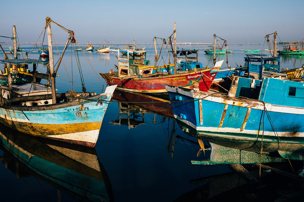 Jaffna, Sri Lanka -- February 9, 2018: Fishing boats at the docks.
