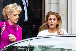© Licensed to London News Pictures. 30/07/2019. London, UK. Princess Haya Bint al-Hussein leaves the High Court in London where she is currently in dispute with her husband, Sheik Mohammed bin Rashid Al Maktoum, following the breakdown of their marriage. She leaves with her solicitor Baroness Sara Shackleton.  Photo credit: George Cracknell Wright/LNP