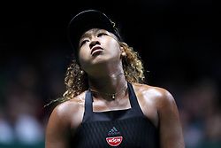 October 22, 2018 - Singapore, Singapore - Naomi Osaka of Japan reacts to missing point during the match between Naomi Osaka and Sloane Stephens on day 2 of the WTA Finals at the Singapore Indoor Stadium. (Credit Image: © Paul Miller/ZUMA Wire)