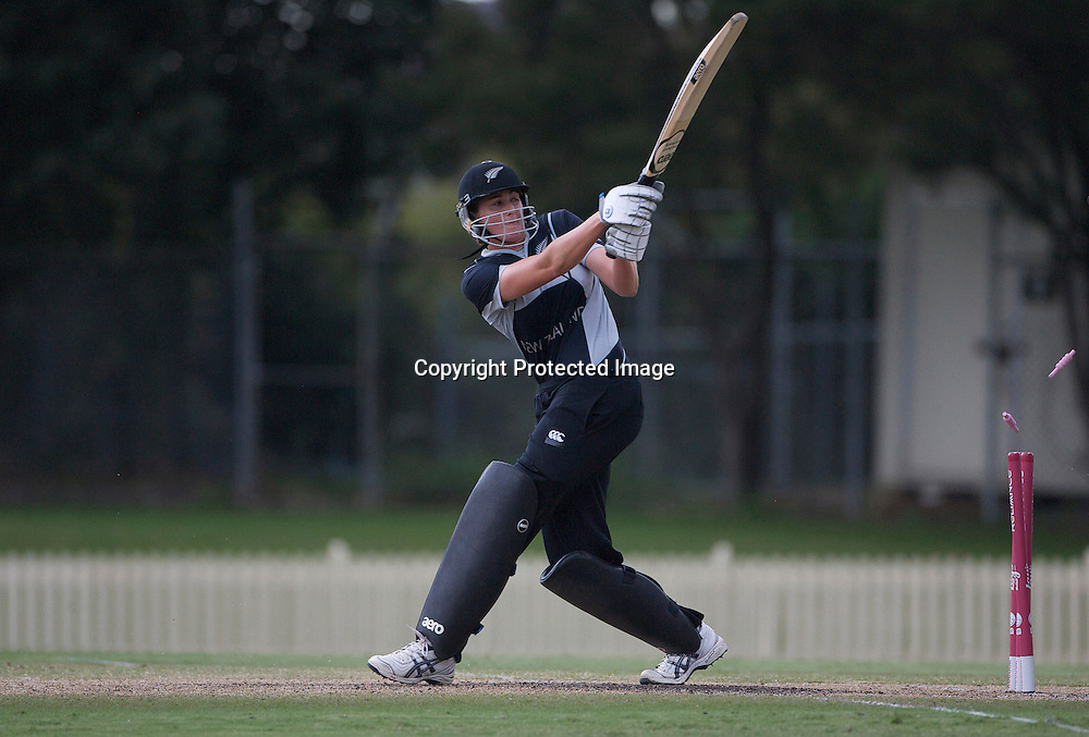 Sydney-March 14: Nicola Browne is bowled by Charlotte Edwards for 14  during the match between England and New Zealand in the Super 6 stage of the ICC Women's World Cup Cricket tournament at Bankstown Oval, Sydney, Australia on March 14 2009, England won the match by 31 runs. Photo by Tim Clayton.