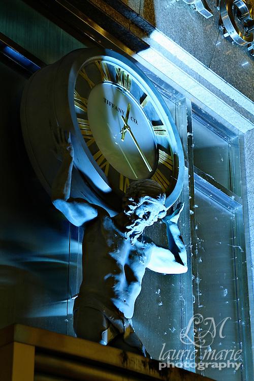 Atlas Clock at Tiffany & Co in Portland, OR at night