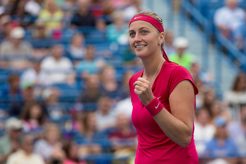 August 23, 2014, New Haven, CT:<br /> Petra Kvitova reacts during the singles final against Magdalena Rybarikova on day nine of the 2014 Connecticut Open at the Yale University Tennis Center in New Haven, Connecticut Saturday, August 23, 2014.<br /> (Photo by Billie Weiss/Connecticut Open)
