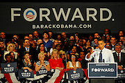 LAURA FONG | SUMMER KENT STATER President Barack Obama points out the flaws in his opponent's plan to recover the U.S. economy as he adresses supporters at the John S Knight Center in Akron Wednesday. The President insists his own plan will keep money in the pockets of Ohio's working families.
