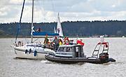 Patrol policji wodnej na jeziorze Niegocin. Giżycko