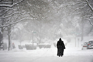 Garden City, NY, February 3, 2014: --  A woman takes a snowy stroll on Newmarket Road. ©Audrey C. Tiernan
