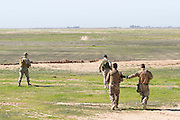 KURDISTAN, NORTHERN IRAQ, Dokuk.<br /> Qalubna Ma'Kum Feature:<br /> Qalubna Ma'kum (meaning &quot;Our hearts are With You&quot;) are a group of foreign volunteer fighters who have joined up with the Peshmerga in Kurdistan to help with the battle against Daesh, also known as ISIS. <br /> <br /> Pictured: Qalubna Ma'kum volunteers on patrol on the southern front lines of Kirkuk, Kurdistan.