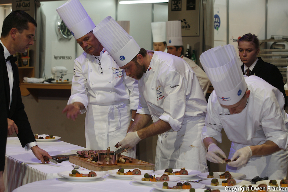 PREPARATION OF MEAT PLATES for the judges,  at the Bocuse d'Or contest