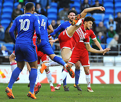 Rudy Gestede of Middlesbrough clears the ball- Mandatory by-line: Nizaam Jones/JMP - 17/02/2018 -  FOOTBALL - Cardiff City Stadium - Cardiff, Wales -  Cardiff City v Middlesbrough - Sky Bet Championship